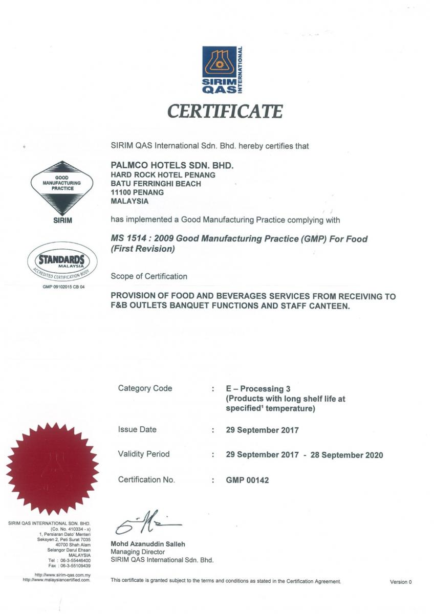 Good Manufacturing Practice Gmp Certificate Penang Hotel Hard